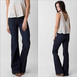 Free People dark wash mid rise flare jeans